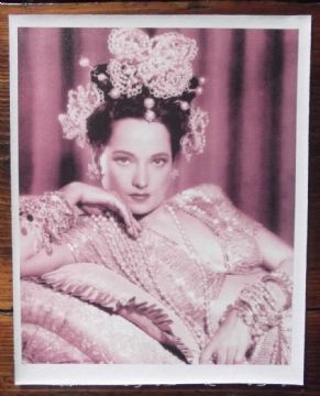 Merle Oberon, c80s print on linen in Costume!